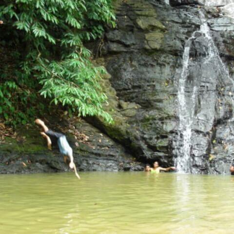 Zip line waterfall